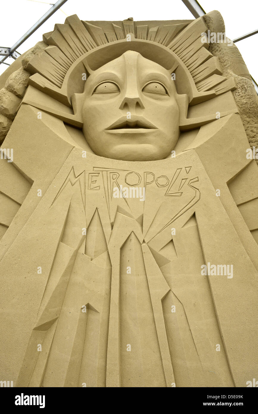 Metropolis sand sculpture at Sandworld in Weymouth Dorset, Britain. - Stock Image