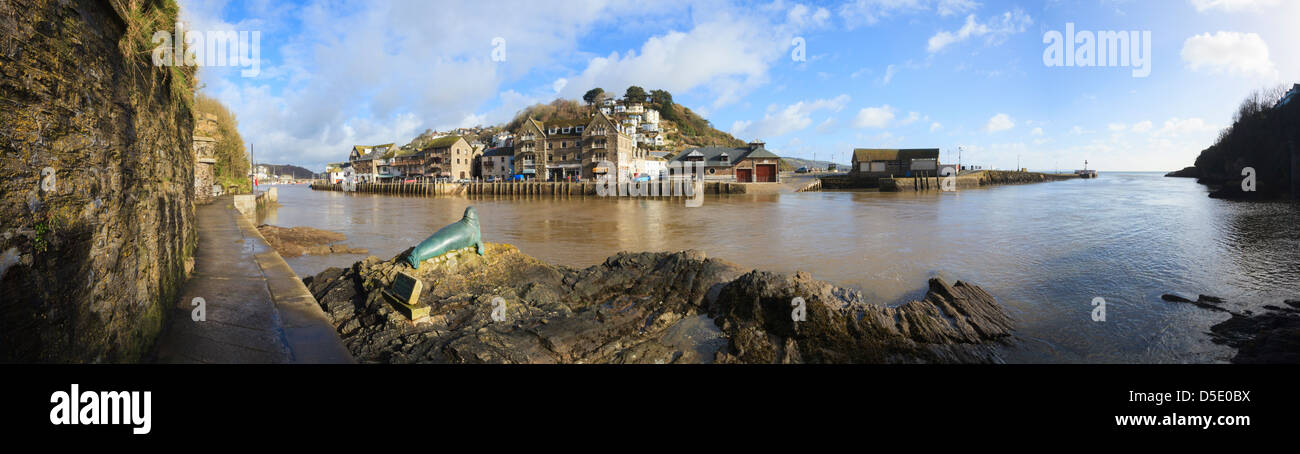 A panoramic of East Looe in Cornwall captured from the South West Coast Path on the opposite bank of the river. - Stock Image