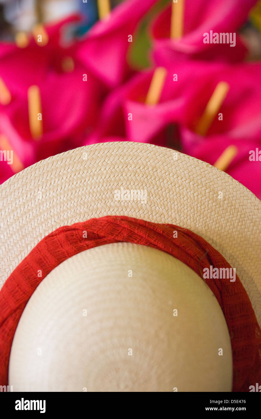Straw hat, Merida, Yucatan State, Mexico - Stock Image
