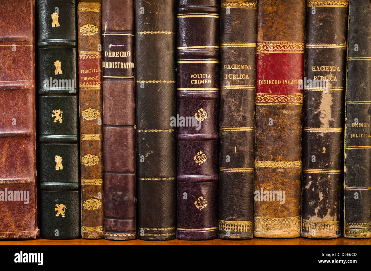 Bookshelf with old books in Spanish legal and economic issues - Stock Image