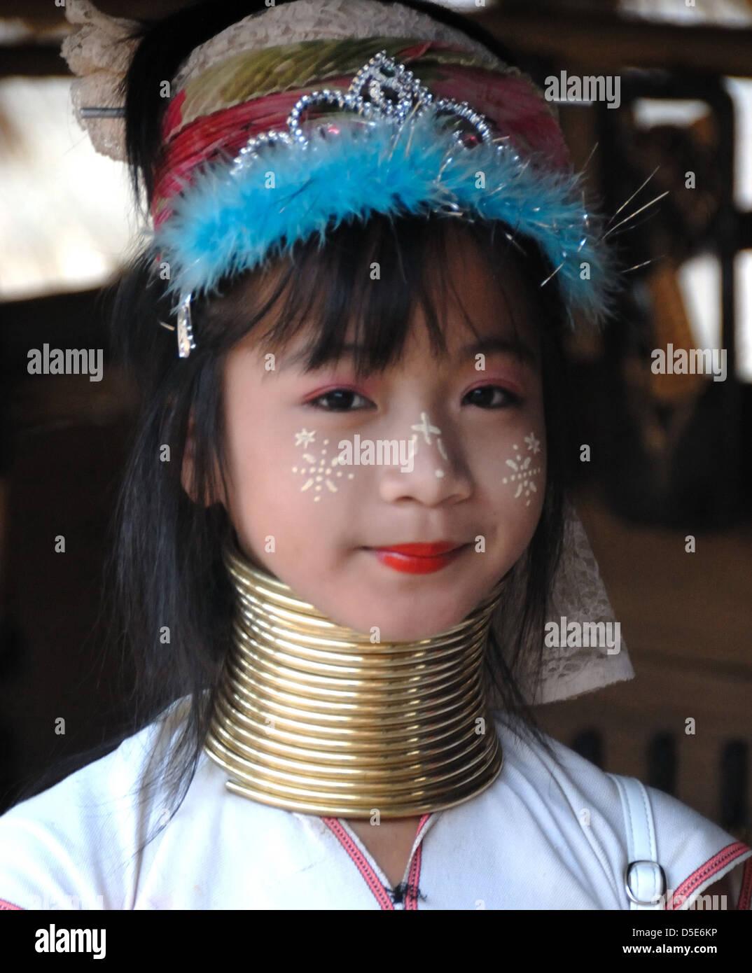 Portrait pretty young girl long neck Karen Hilltribe tatong village Chiang Mai Northern Thailand - Stock Image