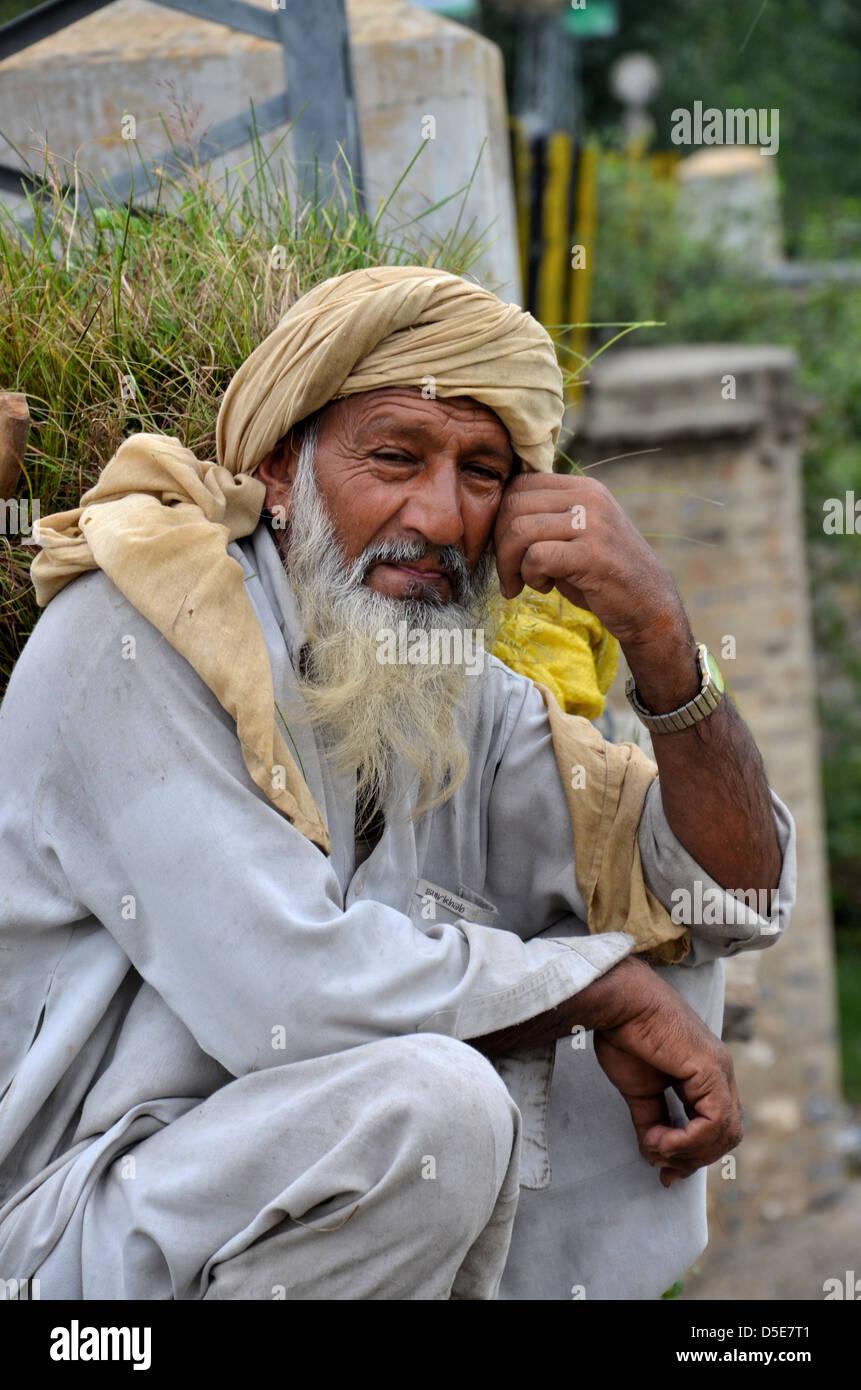 Old man carrying fodder - Stock Image