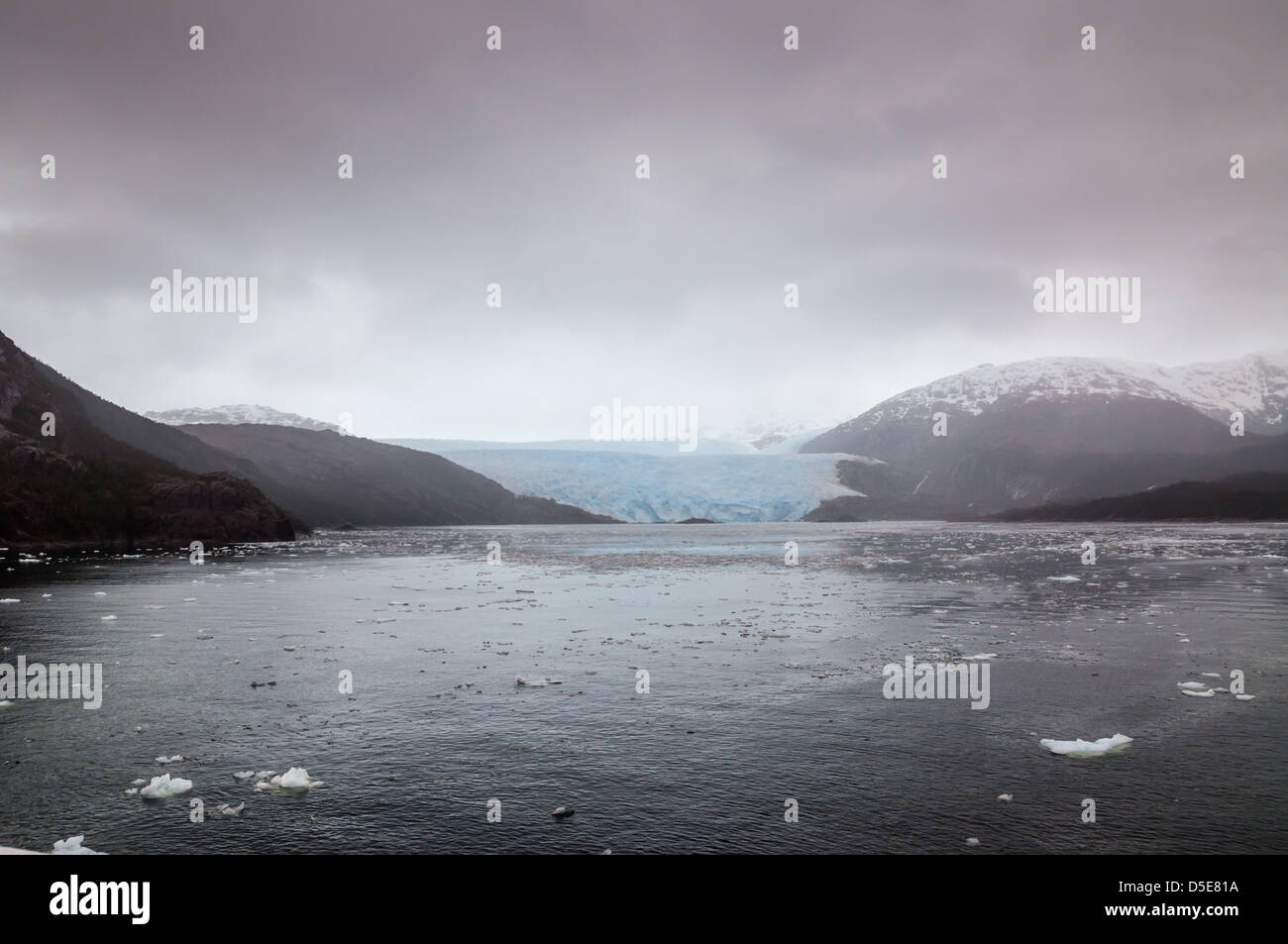 Weather event: Bad weather at the Amalia Glacier in Bernardo O'Higgins National Park in the Southern Patagonian - Stock Image