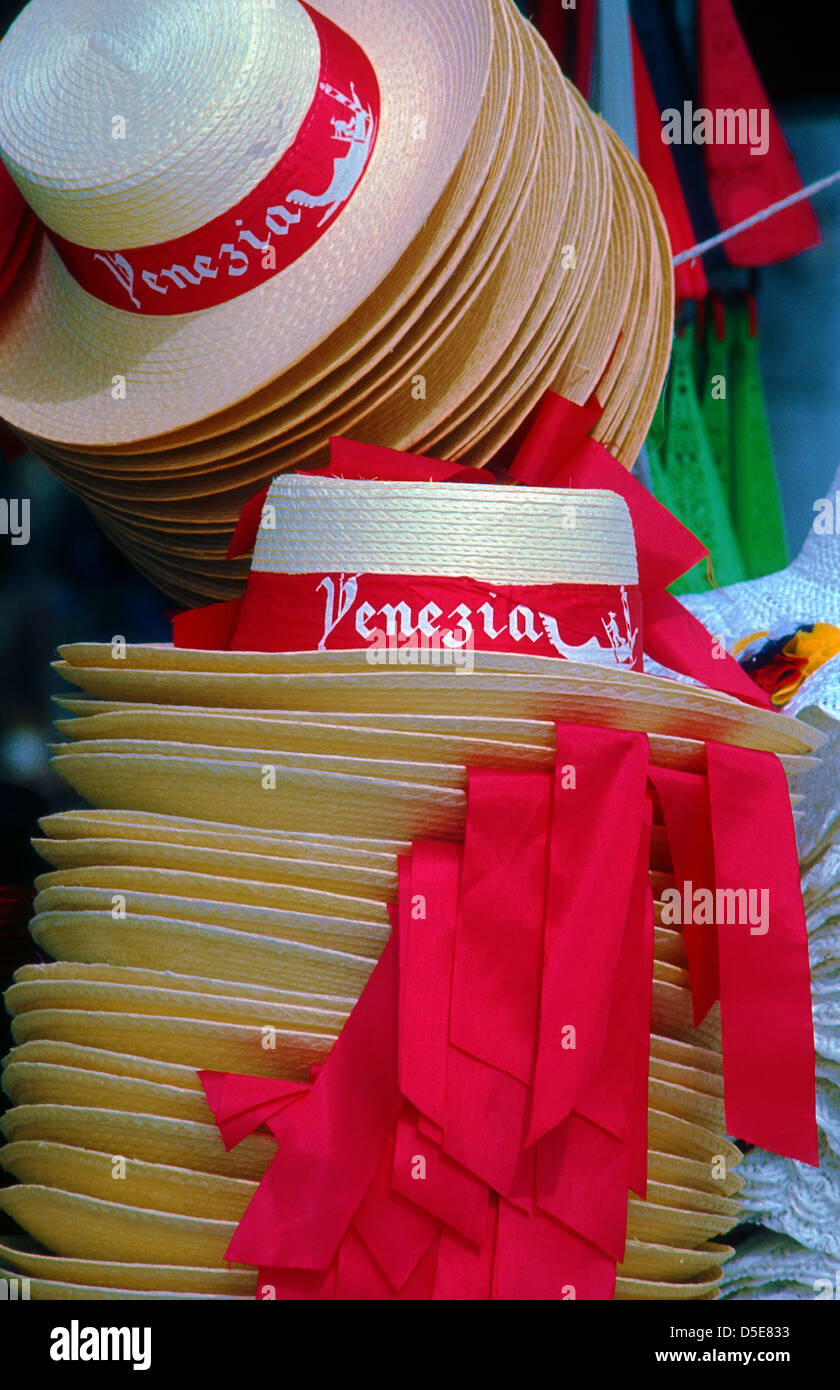 Gondoliers' straw hats on sale on a stall near St. Mark's Square, Venice, Italy Stock Photo