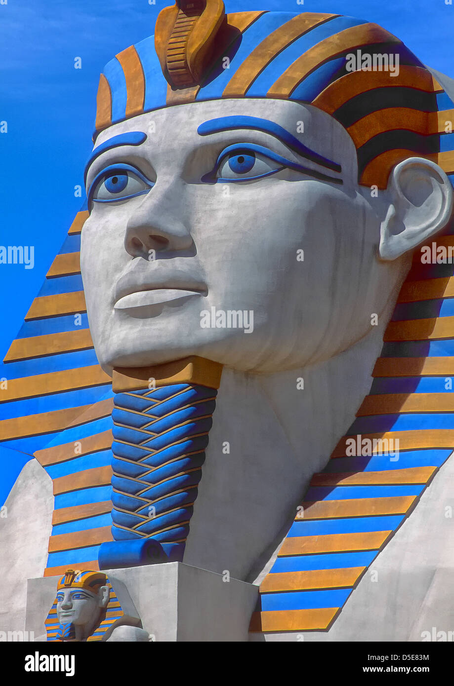 Modern statue of the Egyptian Sphinx to be found outside the Luxor Hotel in Las Vegas, Nevada, USA. Stock Photo