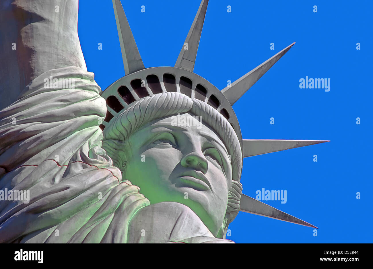Huge copy of the Statue of Liberty, to be found outside the New York New York Hotel in Las Vegas, Nevada, USA. Stock Photo