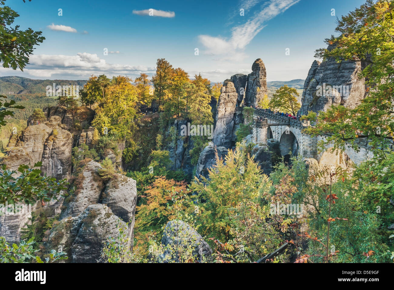Rock formation Bastei (Bastion) and Bridge, Lohmen, Saxon Switzerland near Dresden, Saxony, Germany, Europe - Stock Image