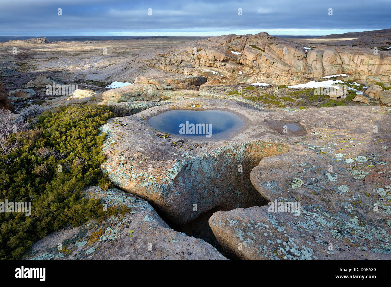 Stone basin in Bektau Ata, Kazakhstan. - Stock Image