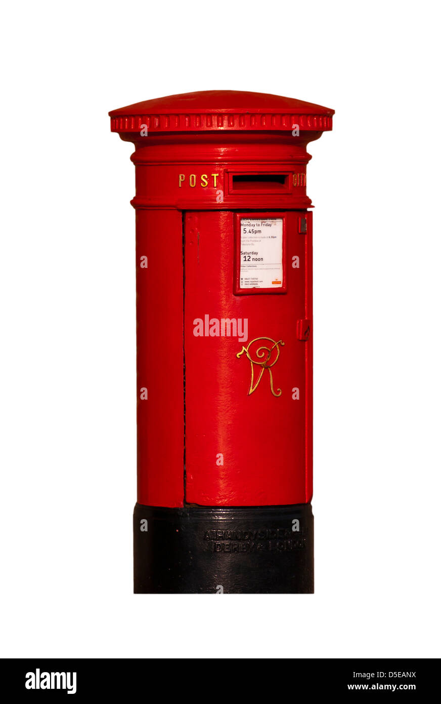 Red Victorian Cast Iron Royal Mail Post Box Postbox UK - Stock Image