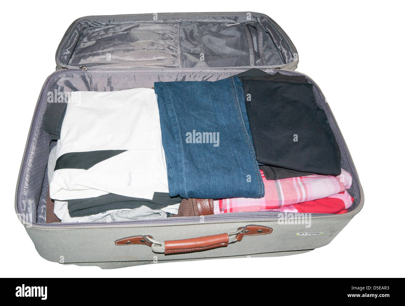 Packed Open Suitcase - Stock Image
