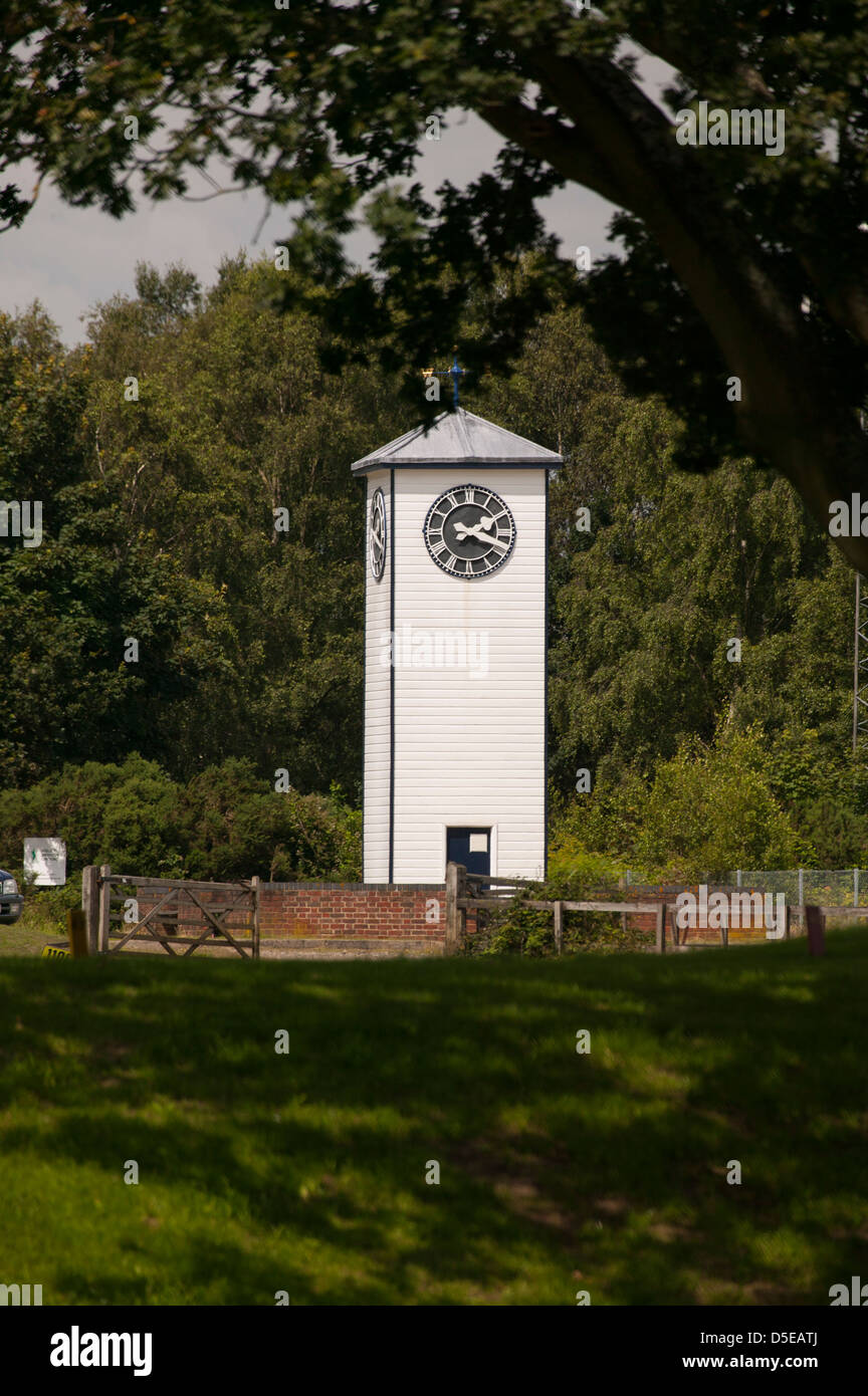 Twenty past two on the world famous Clock tower at the NRA Stickledown rifle range Bisley Surrey England - Stock Image