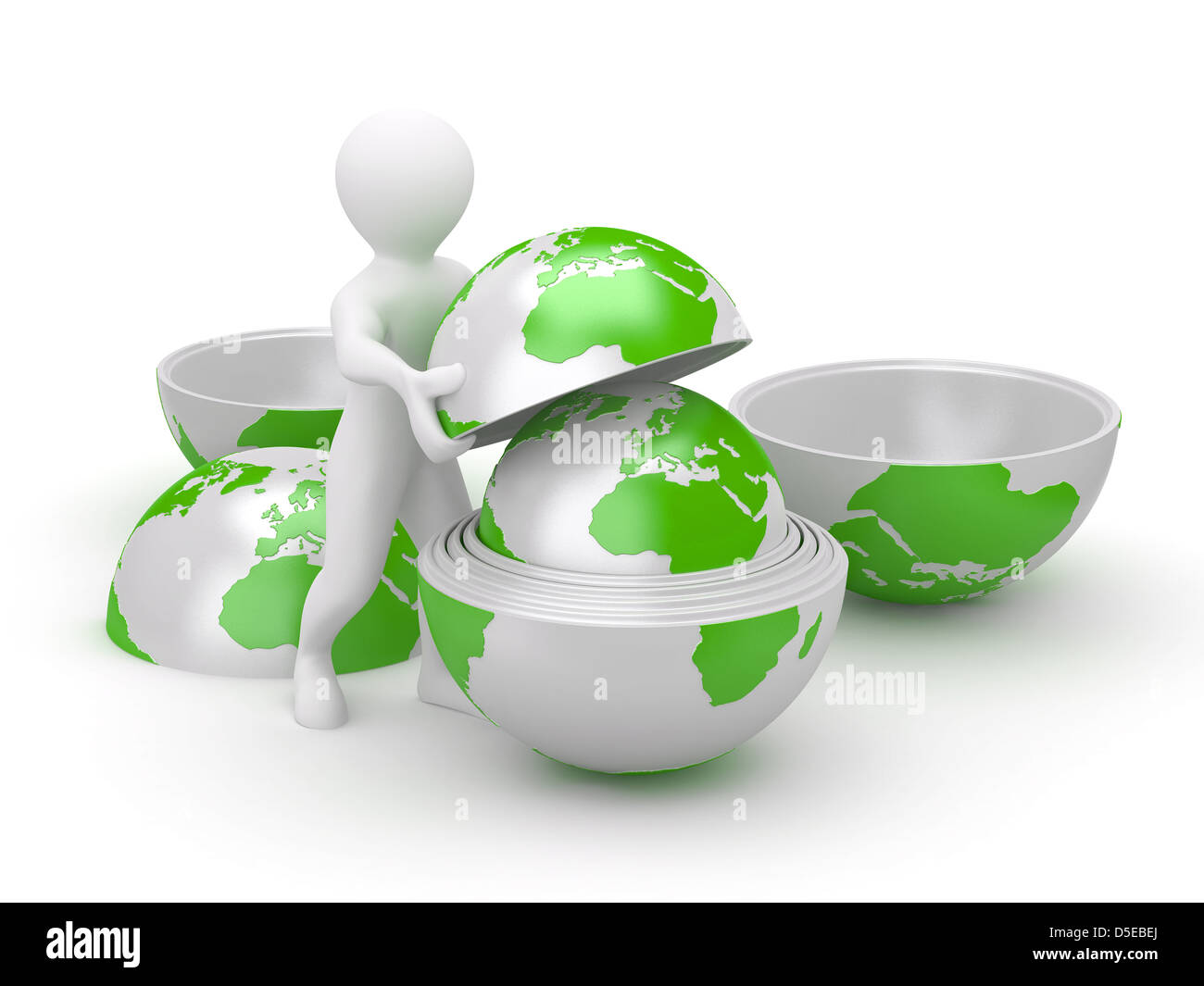 Men with earth on white isolated background. 3d - Stock Image