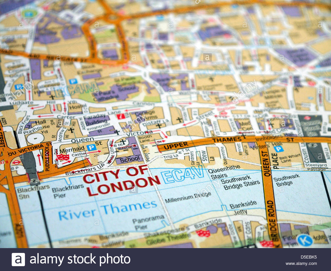 Macro photo of London showing London CIty and River Thames - Stock Image