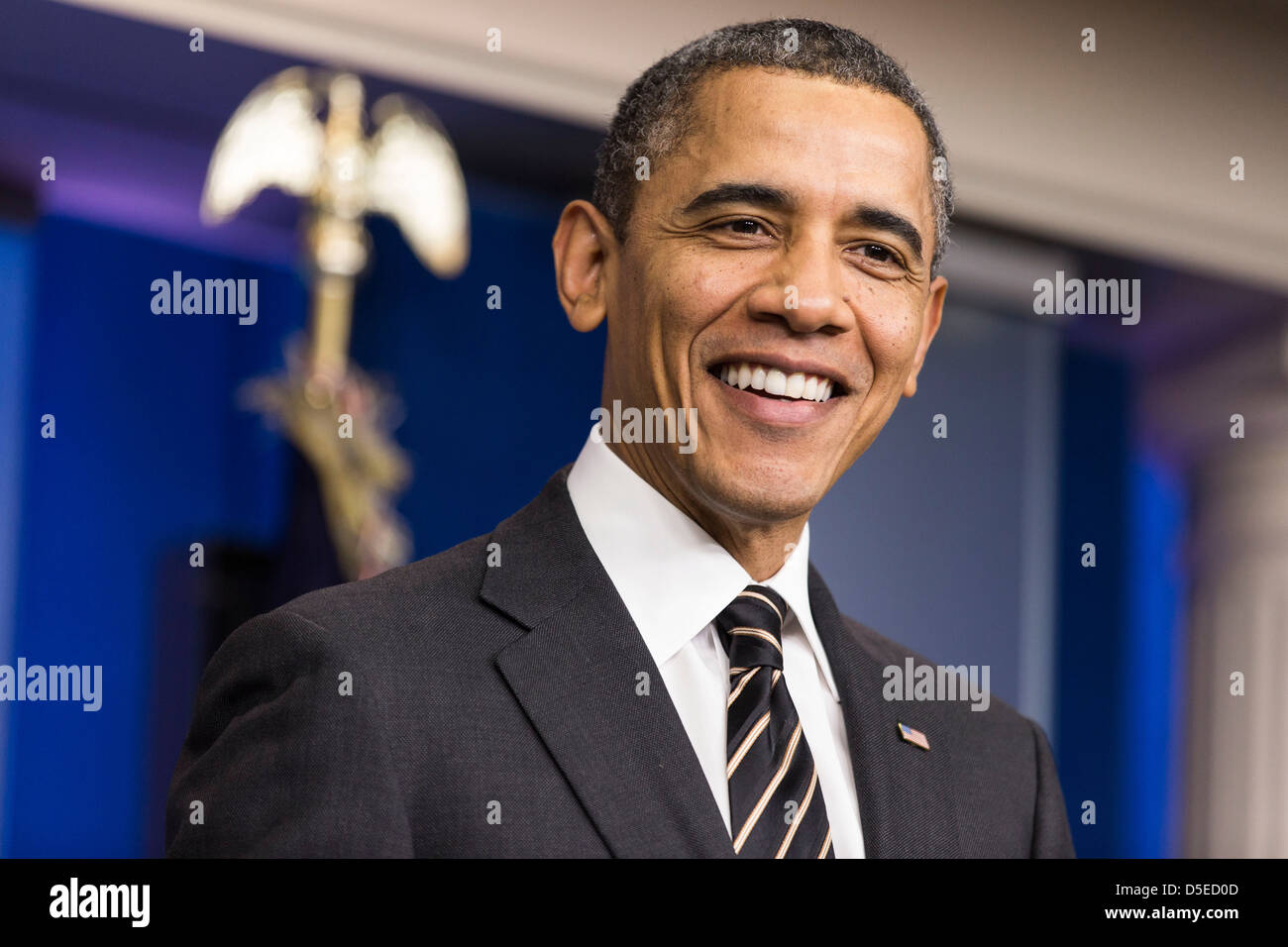 U.S. President Barack Obama calls on Congress to pass a small package of spending cuts and tax reforms. - Stock Image