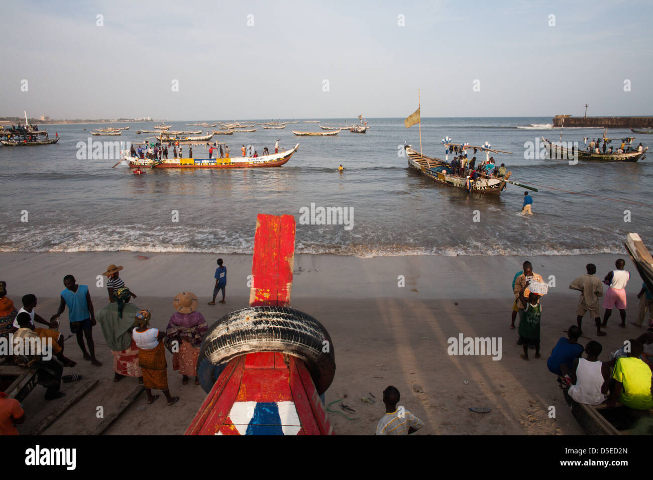 Fishing boats in Accra, Ghana. - Stock Image