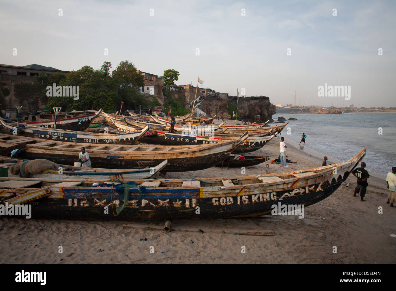 Fishing boats on the beach in Accra, Ghana. - Stock Image