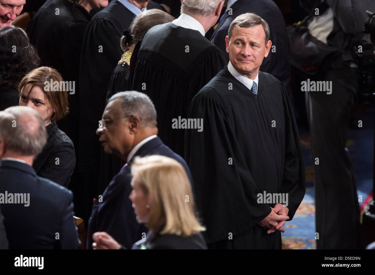 John Roberts, Chief Justice of the U.S. Supreme Court wait for the start of the State of the Union Address on Capitol - Stock Image