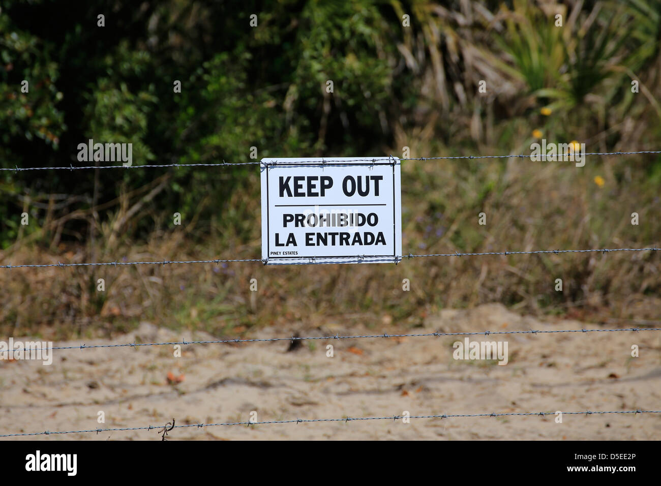 a sign on a barbed wire fence that says KEEP OUT and Prohibido la entrada in spanish - Stock Image