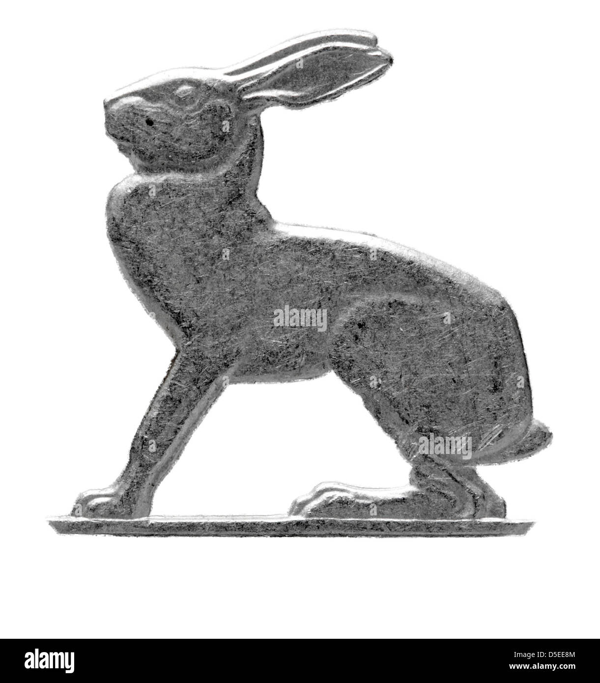 Hare from 3 pence coin, Hare, Ireland, 1956, on white background - Stock Image