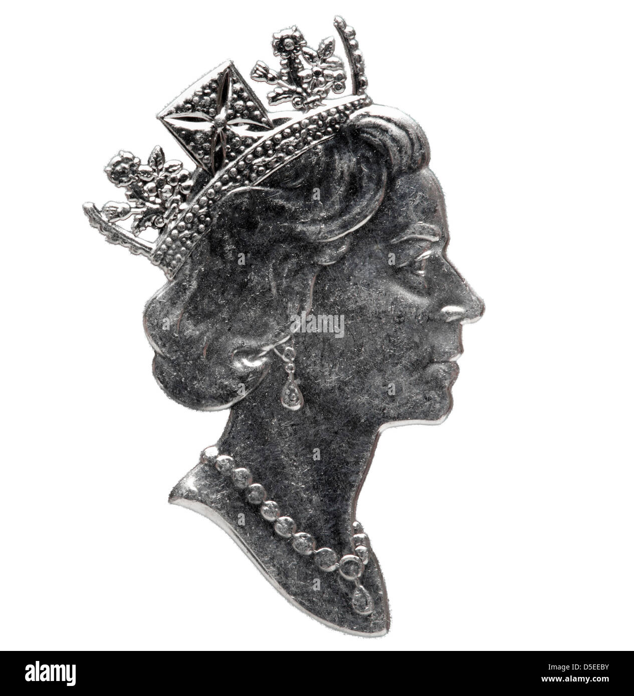 Portrait of Queen Elizabeth II from 50 cents coin, Canada, 1995, on white background - Stock Image