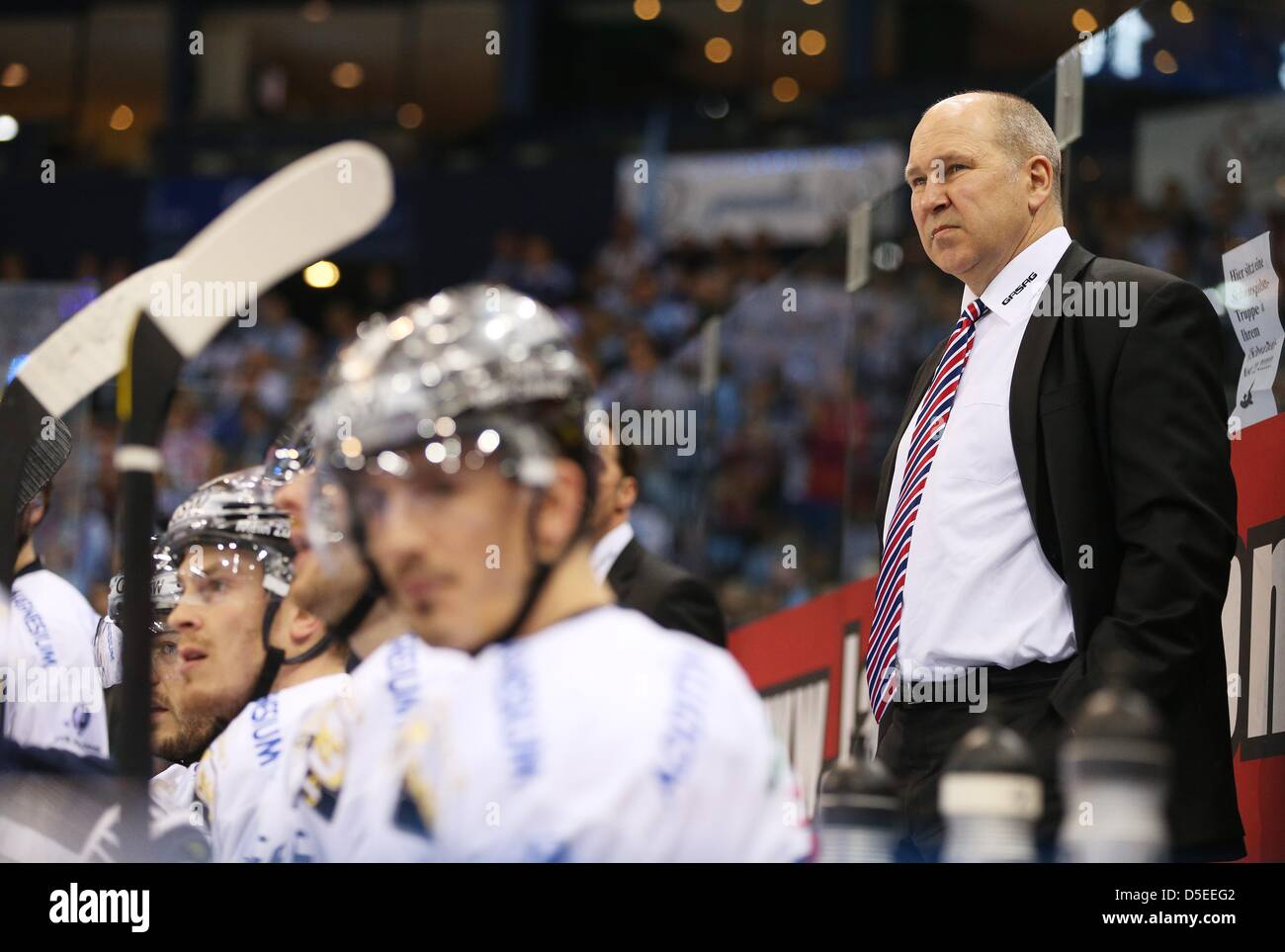 Berlin's coach Don Jackson attends quarter final of the DEL (German Ice Hockey League) playoff match Hamburg - Stock Image