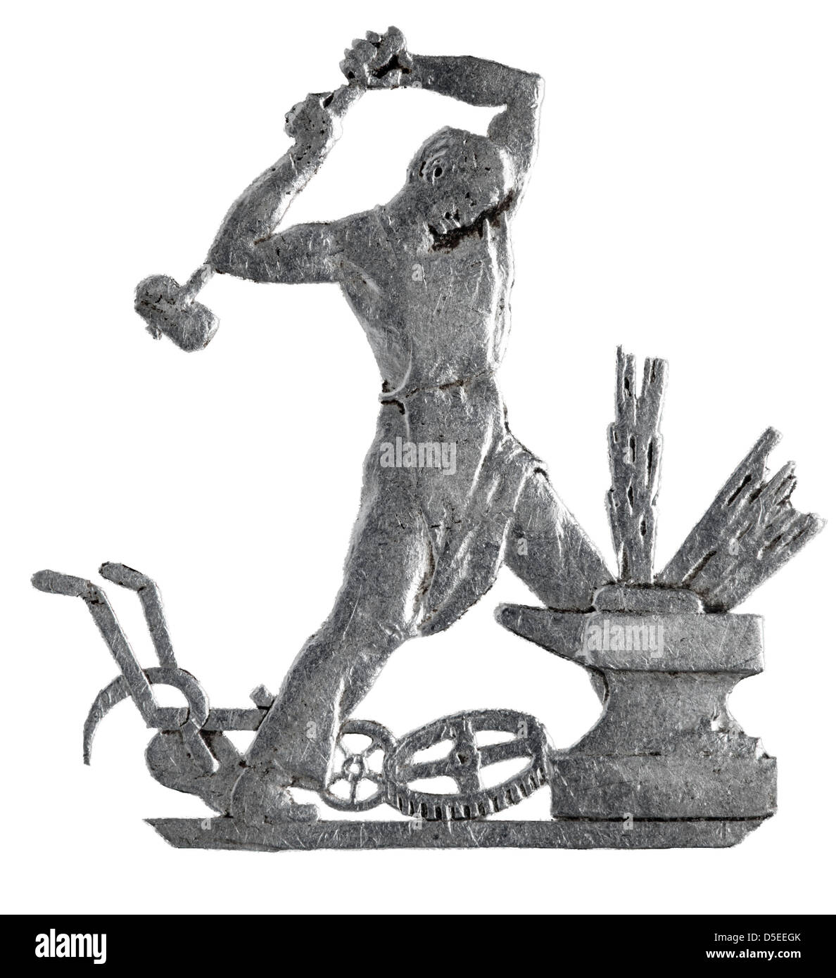 Blacksmith at anvil from 50 Kopeks silver coin, Russia, 1925, on white background Stock Photo