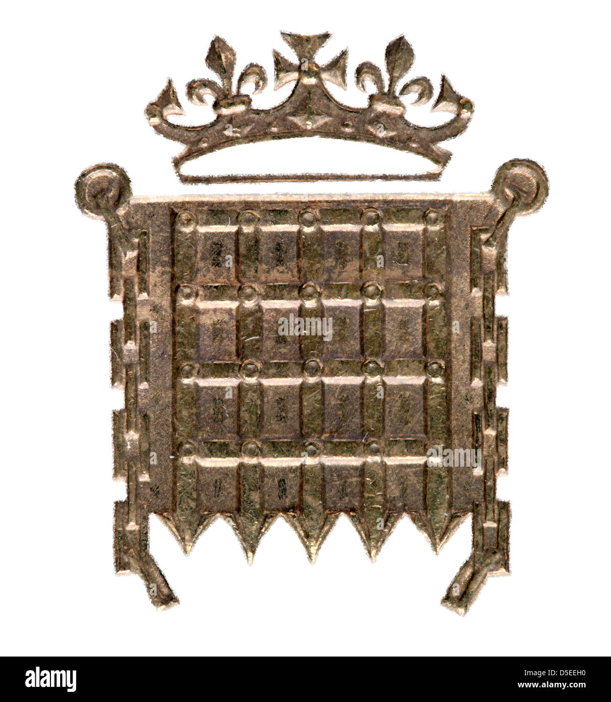 Crowned portcullis 3 Pence coin, UK, 1965, on white background - Stock Image