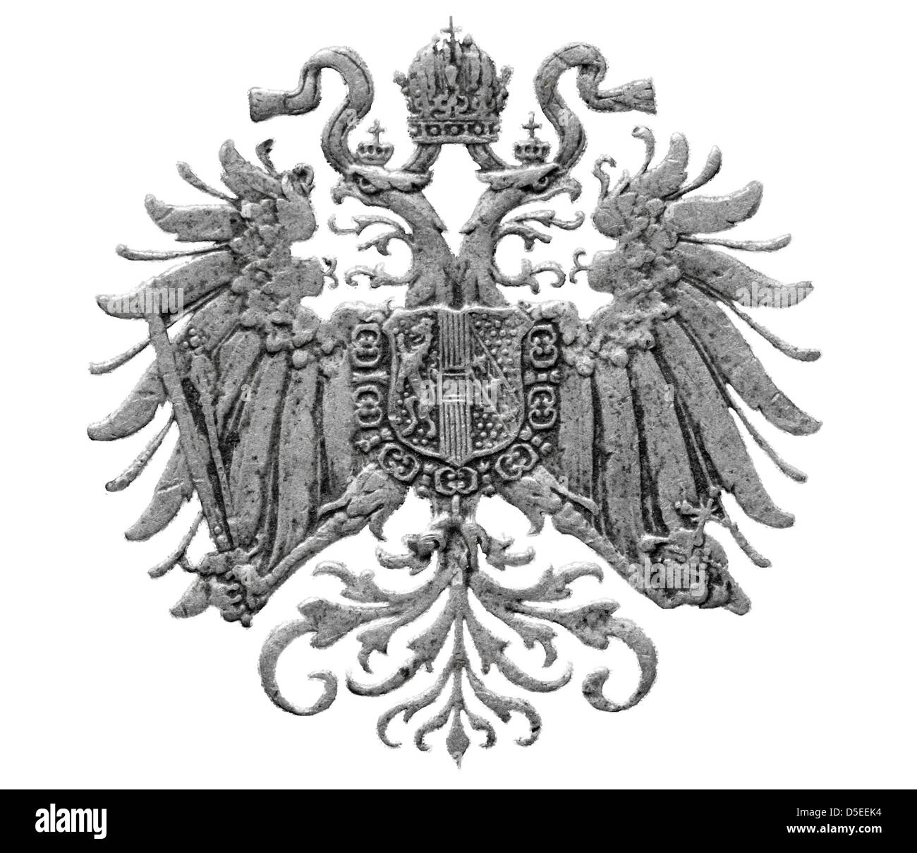 Coat of arms of Austro-Hungarian Empire from 10 Heller coin, Austria, 1915, on white background - Stock Image