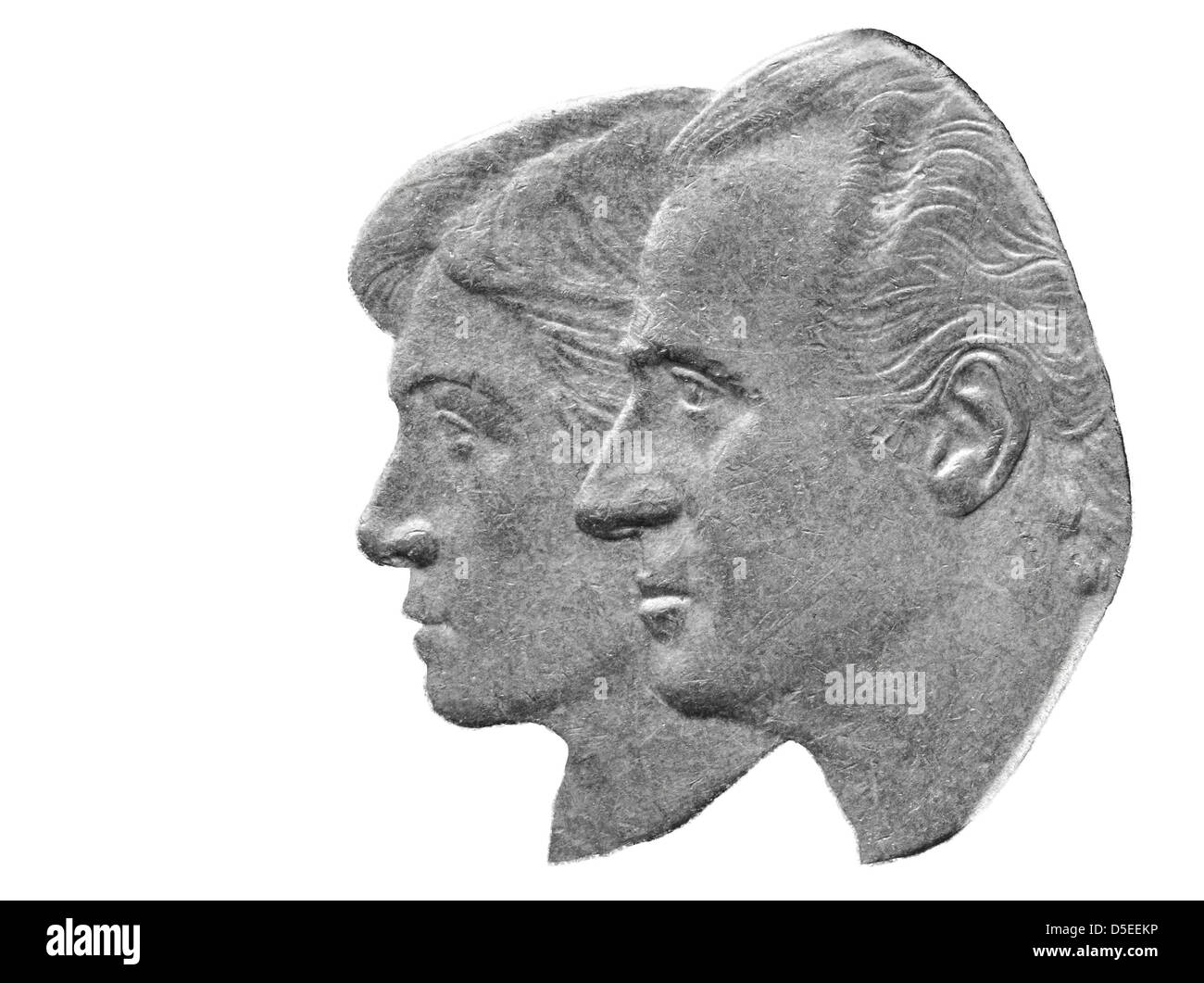 Portrait of King Juan Carlos I and Queen Sofia from 500 pesetas coin, Spain, 1995, on white background - Stock Image