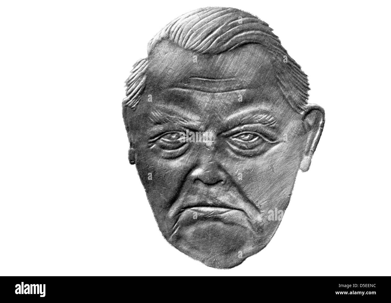 Portrait of Ludwig Erhard from 2 Mark coin, West Germany, 1990, on white background - Stock Image