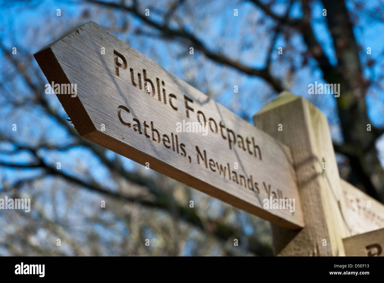 Wooden public footpath sign to Catbells and Newlands Valley, Lake District, Cumbria - Stock Image