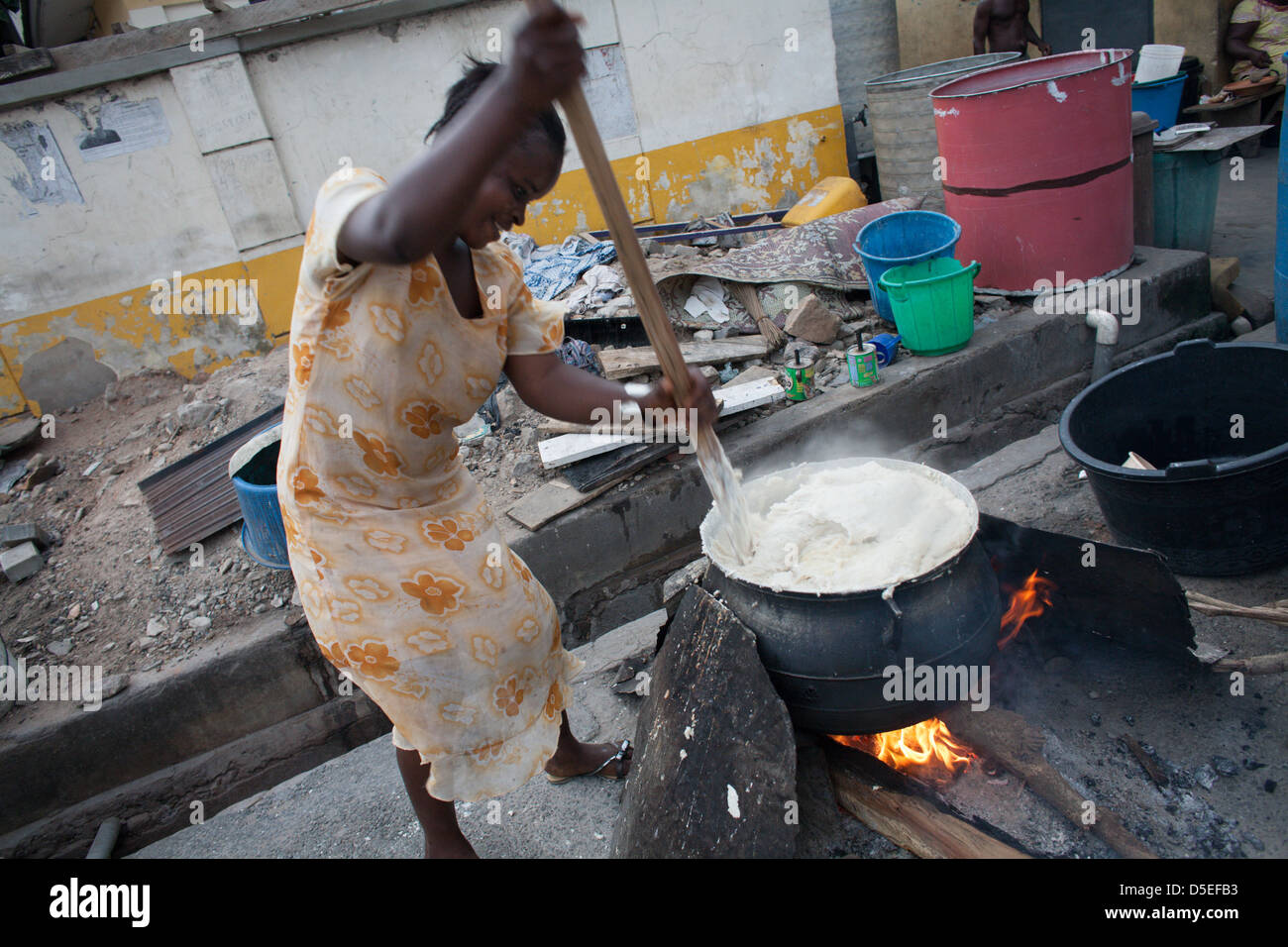 Banku is prepared in Accra, Ghana. - Stock Image