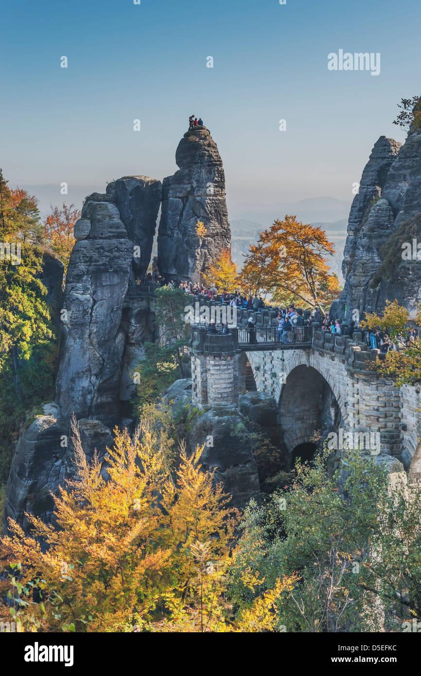 Rock formation Bastei (Bastion) and Bridge, Lohmen, Saxon Switzerland near Dresden, Saxony, Germany, Europe - Stock Image