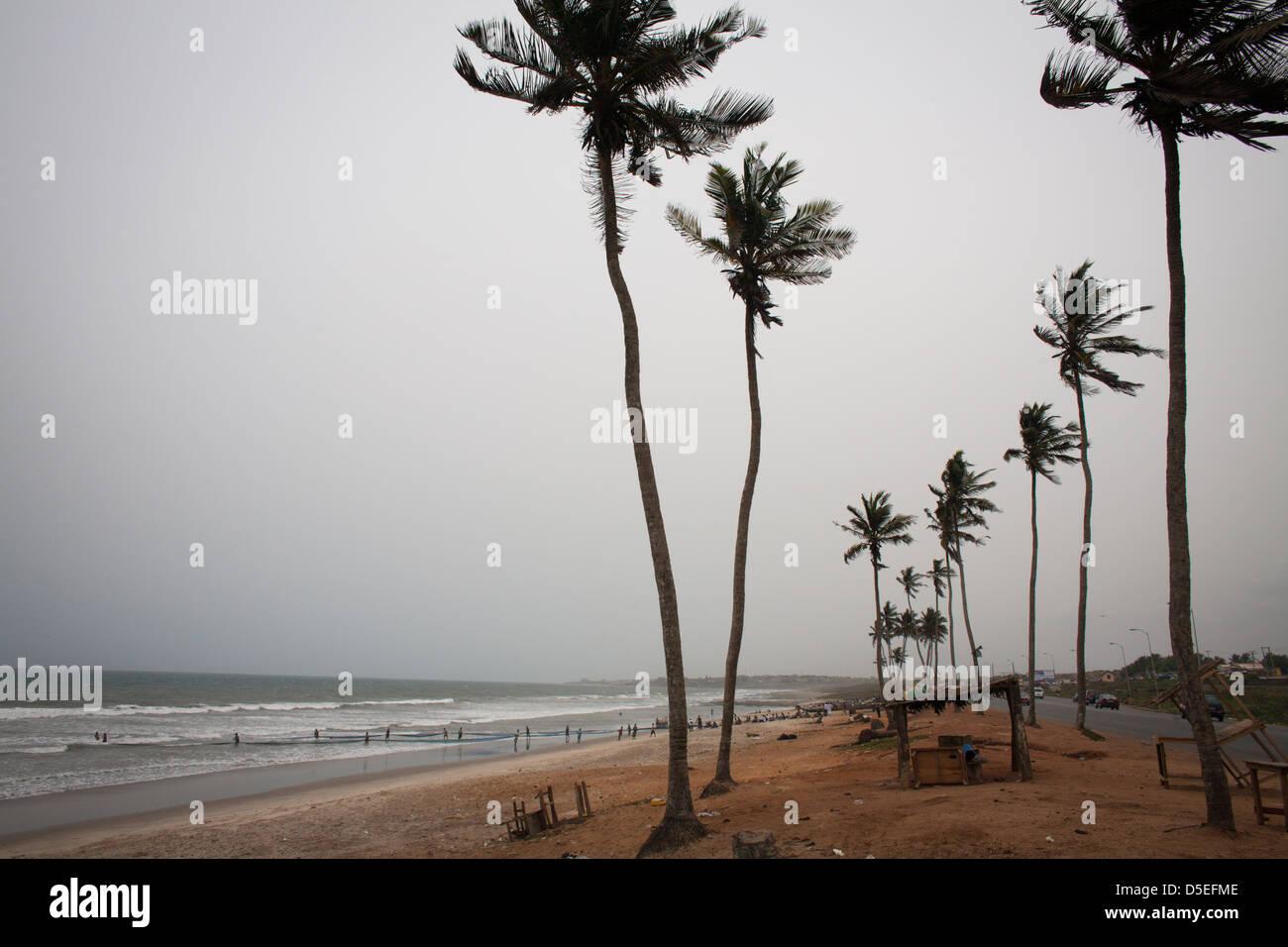 The Atlantic coast near Accra, Ghana. - Stock Image
