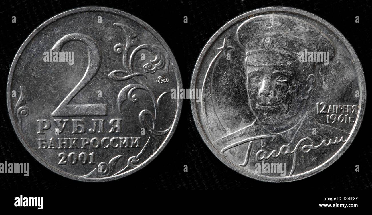 2 Rubles coin, Yuri Gagarin, Russia, 2001 - Stock Image