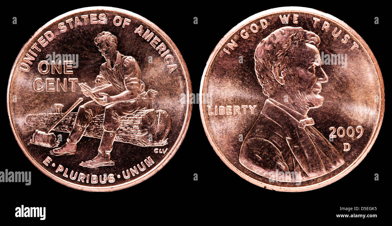 1 cent coin, Lincoln Bicentennial, Formative Years in Indiana, USA, 2009 - Stock Image