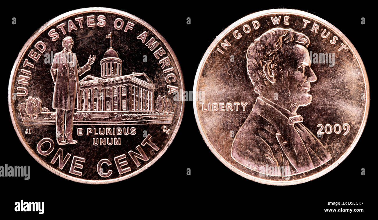 1 cent coin, Lincoln Bicentennial, Professional life in Illinois, USA, 2009 - Stock Image