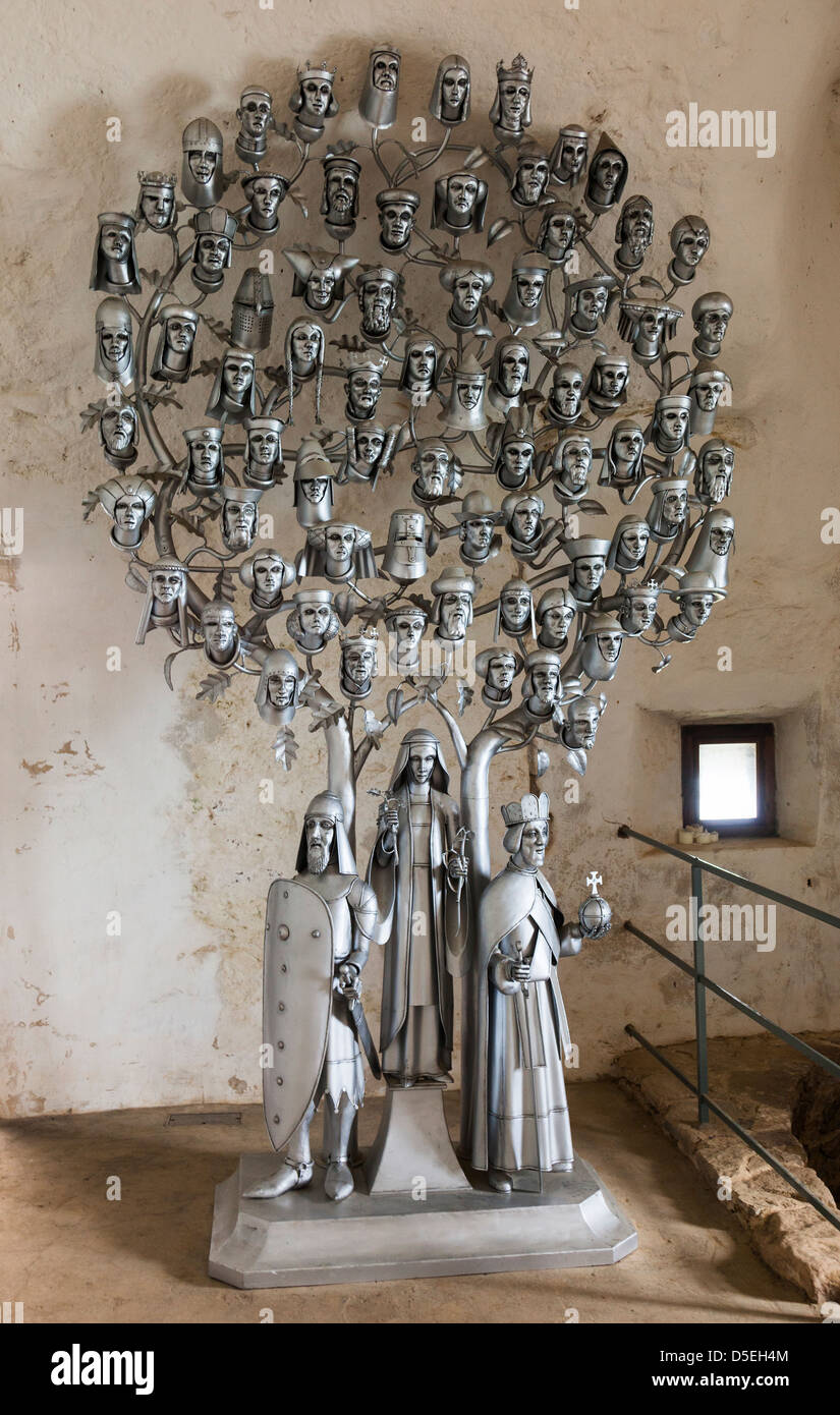 Depiction of a family tree as artwork in metal, Mont Orgueil Castle, Gorey, Jersey, Channel Islands, UK - Stock Image