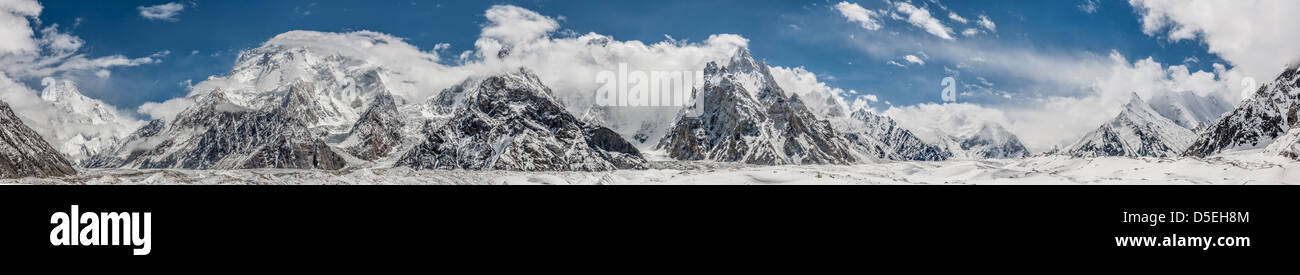 Concordia Panorama, Karakoram Pakistan from north to east to south. Highest mountains in the world including K2 - Stock Image