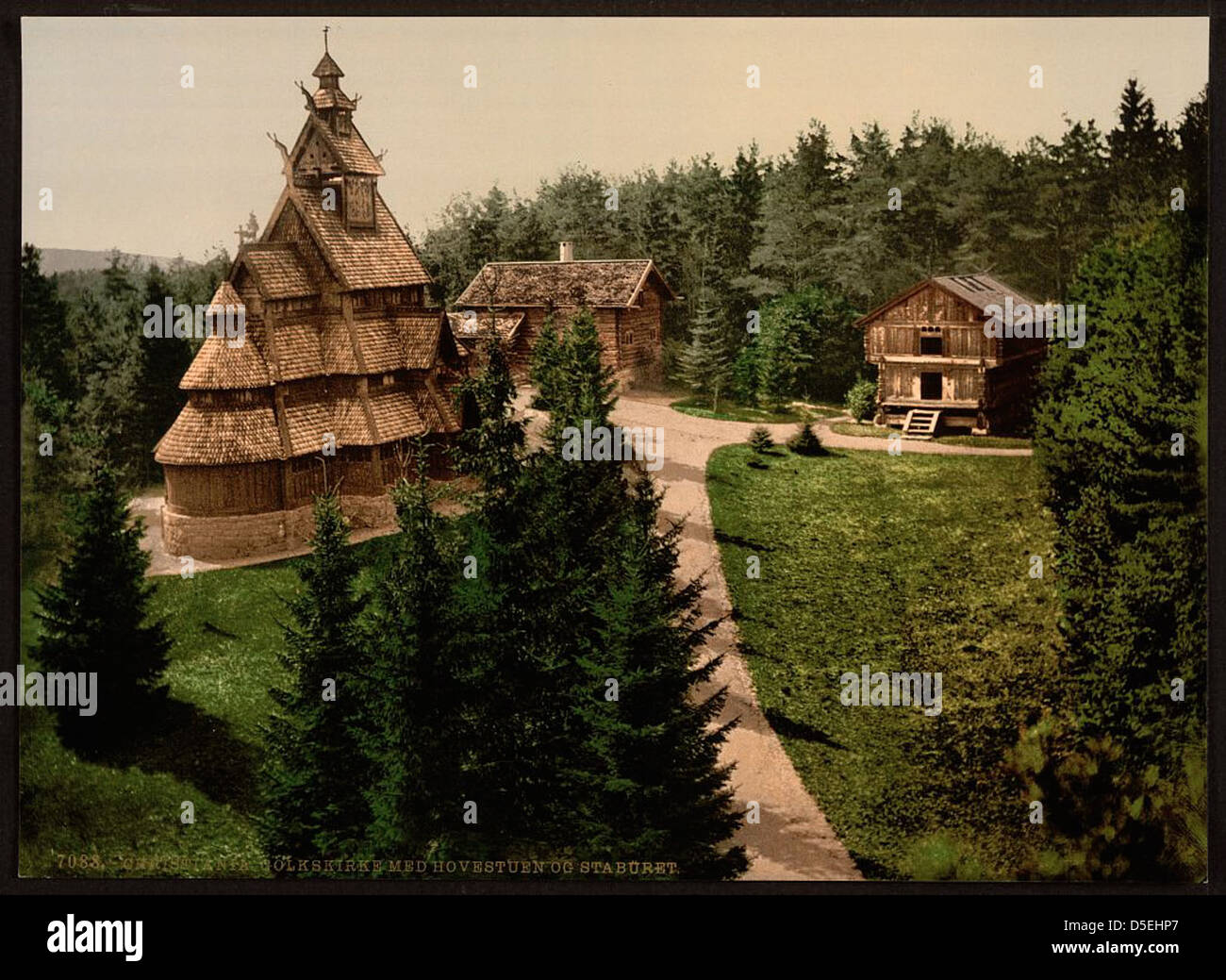 [Gols Church, with Hovenstuen and Staburet, Christiania, Norway] (LOC) - Stock Image