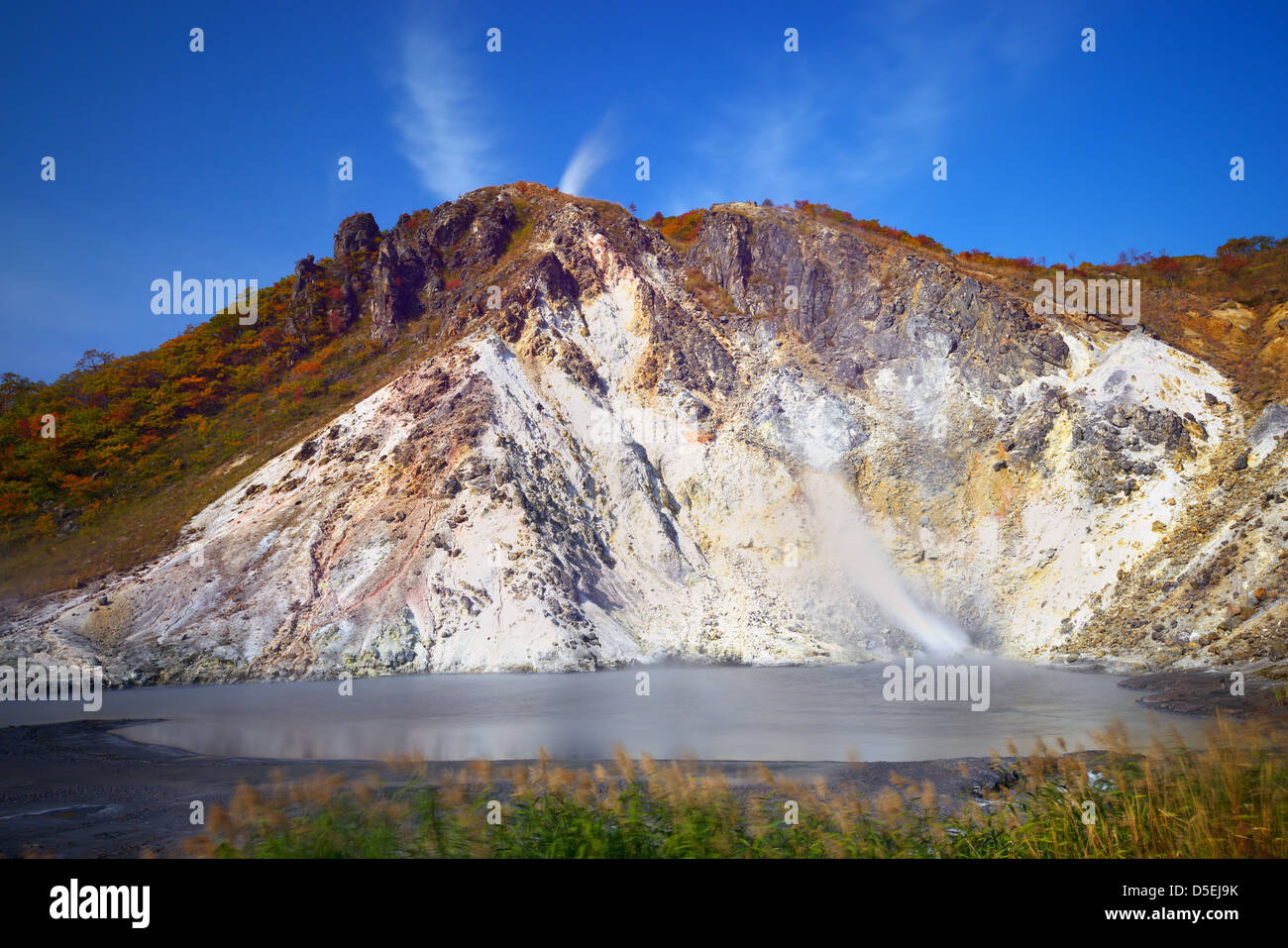 Oyunuma, a sulfurous pond at Hell Valley in Noboribetsu, Japan. - Stock Image