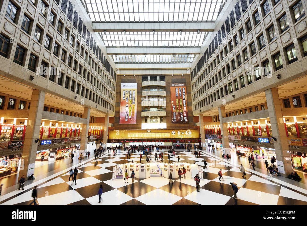 Interior of Taipei Main Station. - Stock Image
