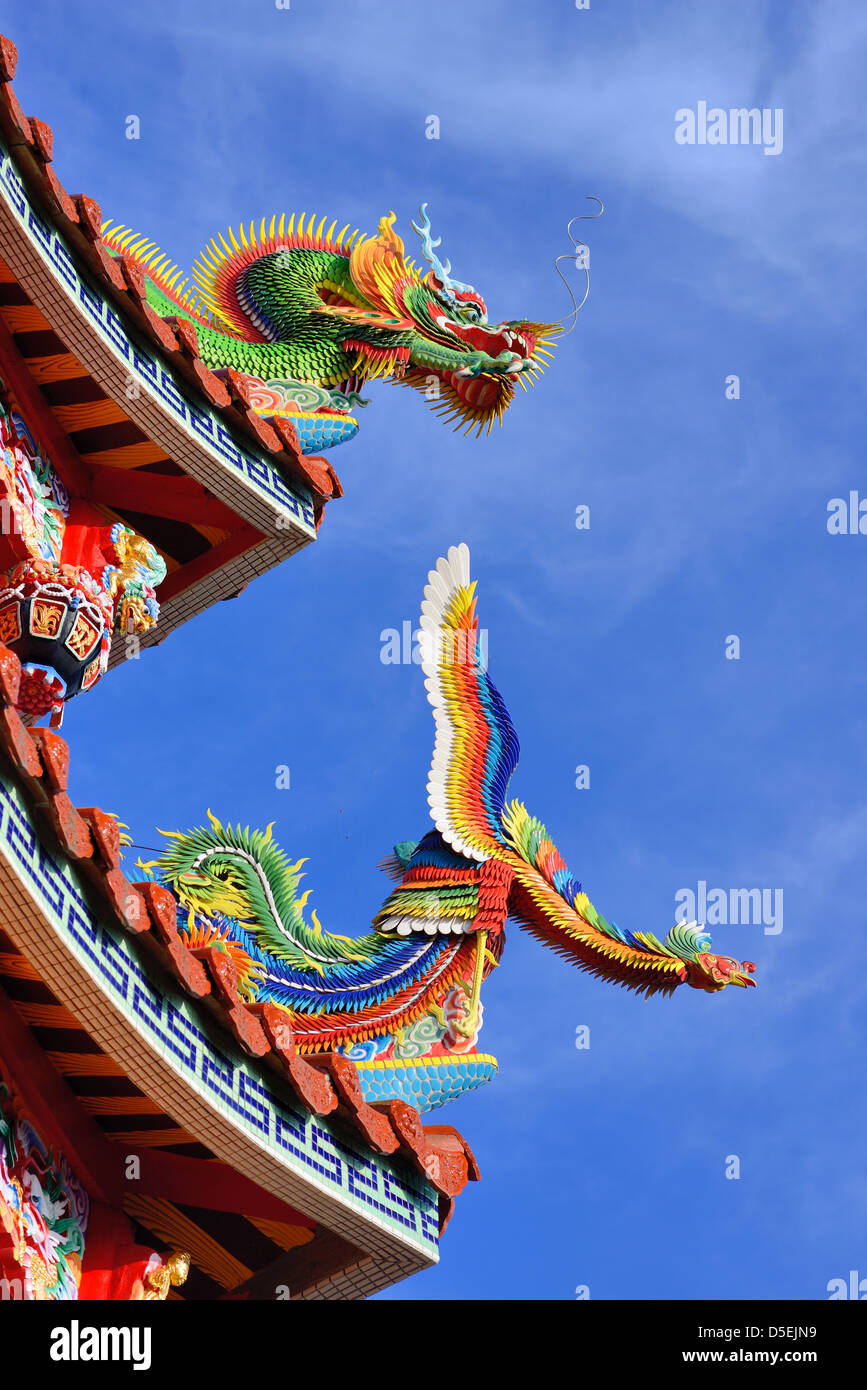 Temple rooftop detail at Bishan Temple in Neihu District, Taipei, Taiwan. - Stock Image