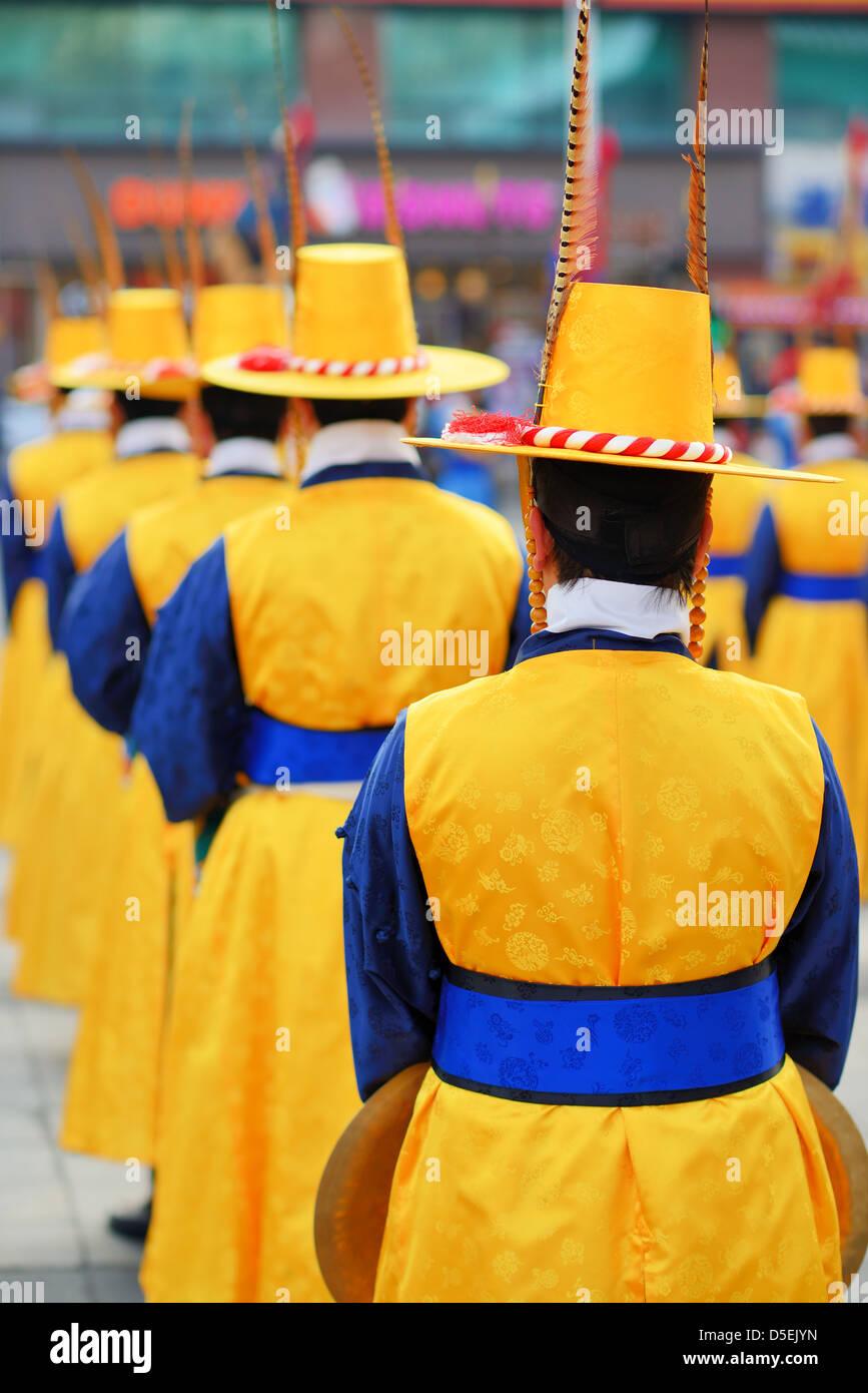 Royal Guards in Korea - Stock Image