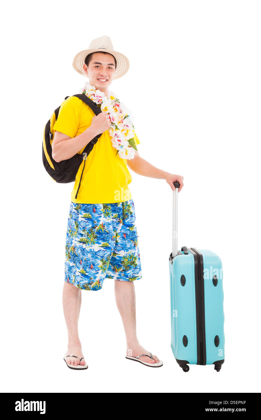 young man enjoy summer vacation and travel - Stock Image