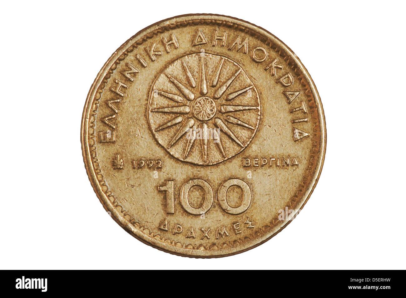 100 Greek drachmas coin - reverse. - Stock Image