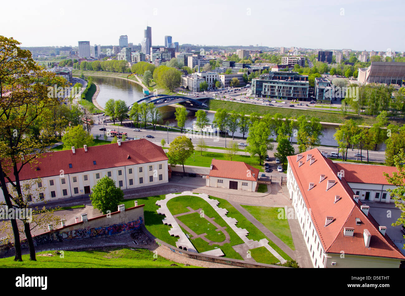 old and new Vilnius panorama in spring time - Stock Image