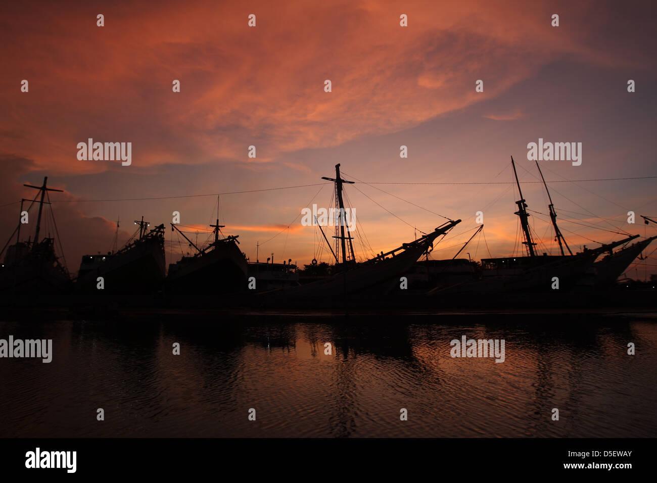 Phinisi at Sunda Kelapa Harbor,Jakarta,Indonesia. - Stock Image