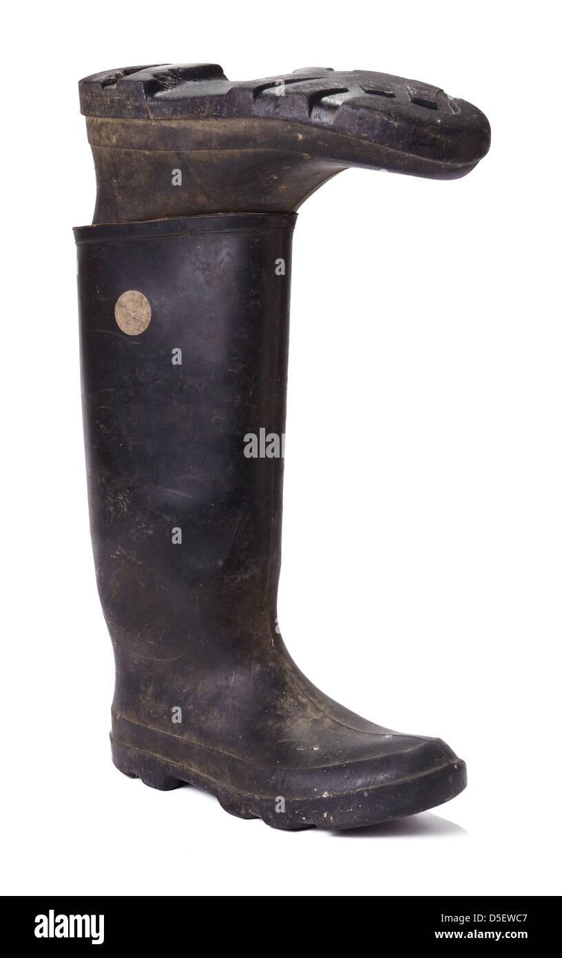 Pair of black wellington boots - Stock Image