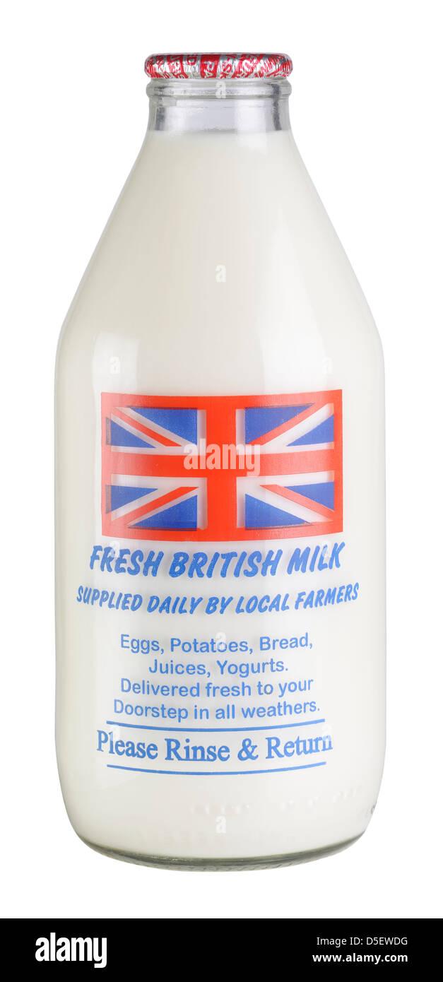 Pint of UK fresh milk in a glass bottle - Stock Image